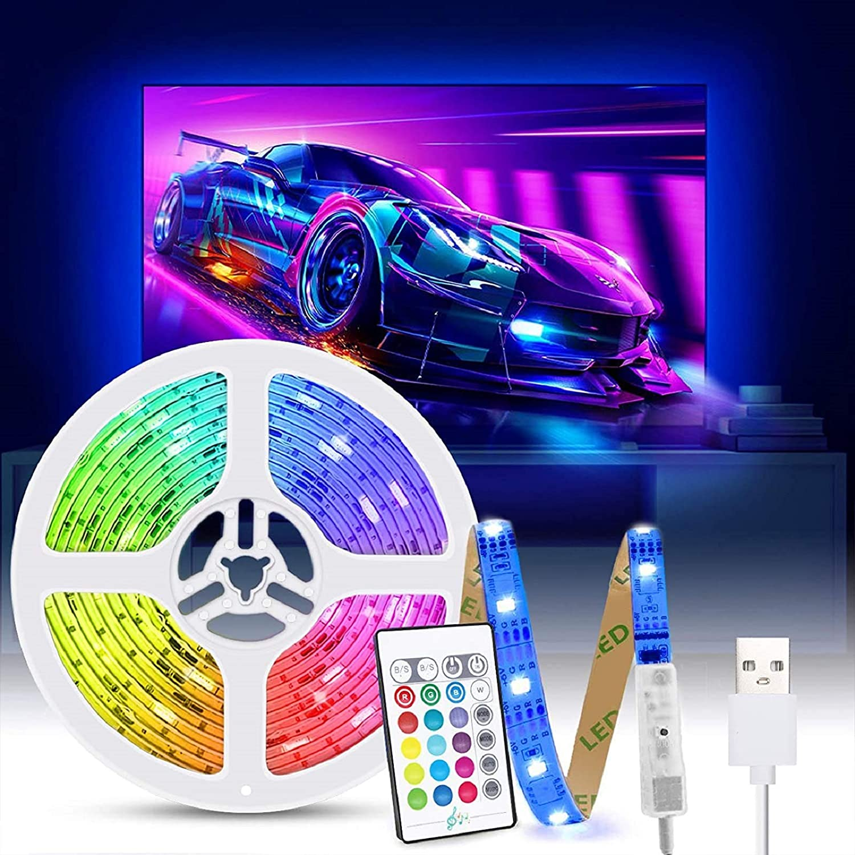 Tiras LED TV 2M, Tasmor Luces LED RGB 5050 Retroiluminación con Sincronización Música, Control Remoto, 16 Colores y 4 Modos, Tira LED USB para Television, PC, Habitación y Gaming
