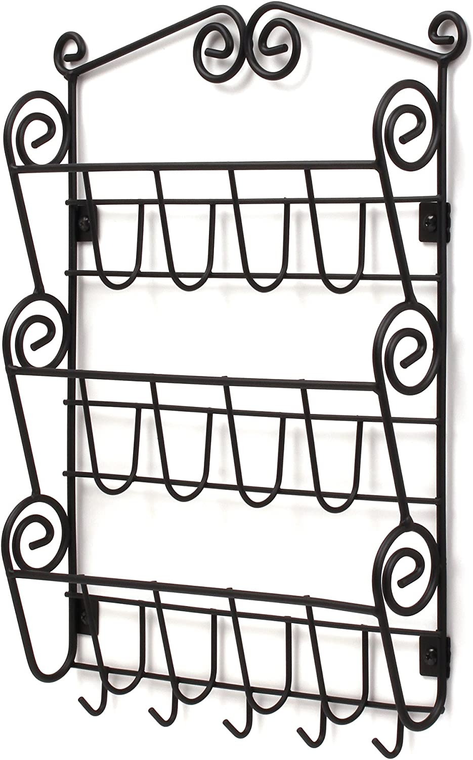 Spectrum Diversified Scroll 3-Tier Mail Key Hooks Mount Entryway Mail & Keys, Wall Letter Holder for Home & Office Organization, Black