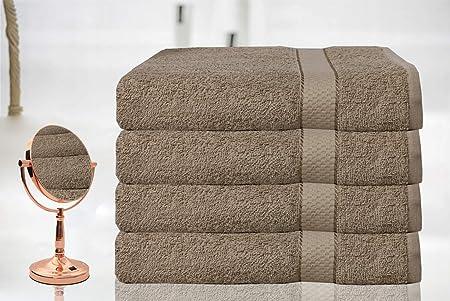 Casabella - Juego de 4 toallas de baño grandes de algodón egipcio ...