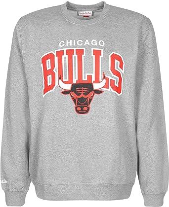 Mitchell   Ness Chicago Bulls Team Arch Crewneck Grey Sweater Pullover  Herren Men 77ea38efc8d5
