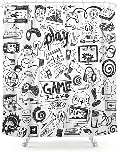 LIGHTINHOME Kids Video Game Boys Shower Curtain Black and White Sketch Funny Graffiti Fabric Waterproof Bathroom Home Decor Set 72x72 Inch 12 Plastic Hooks