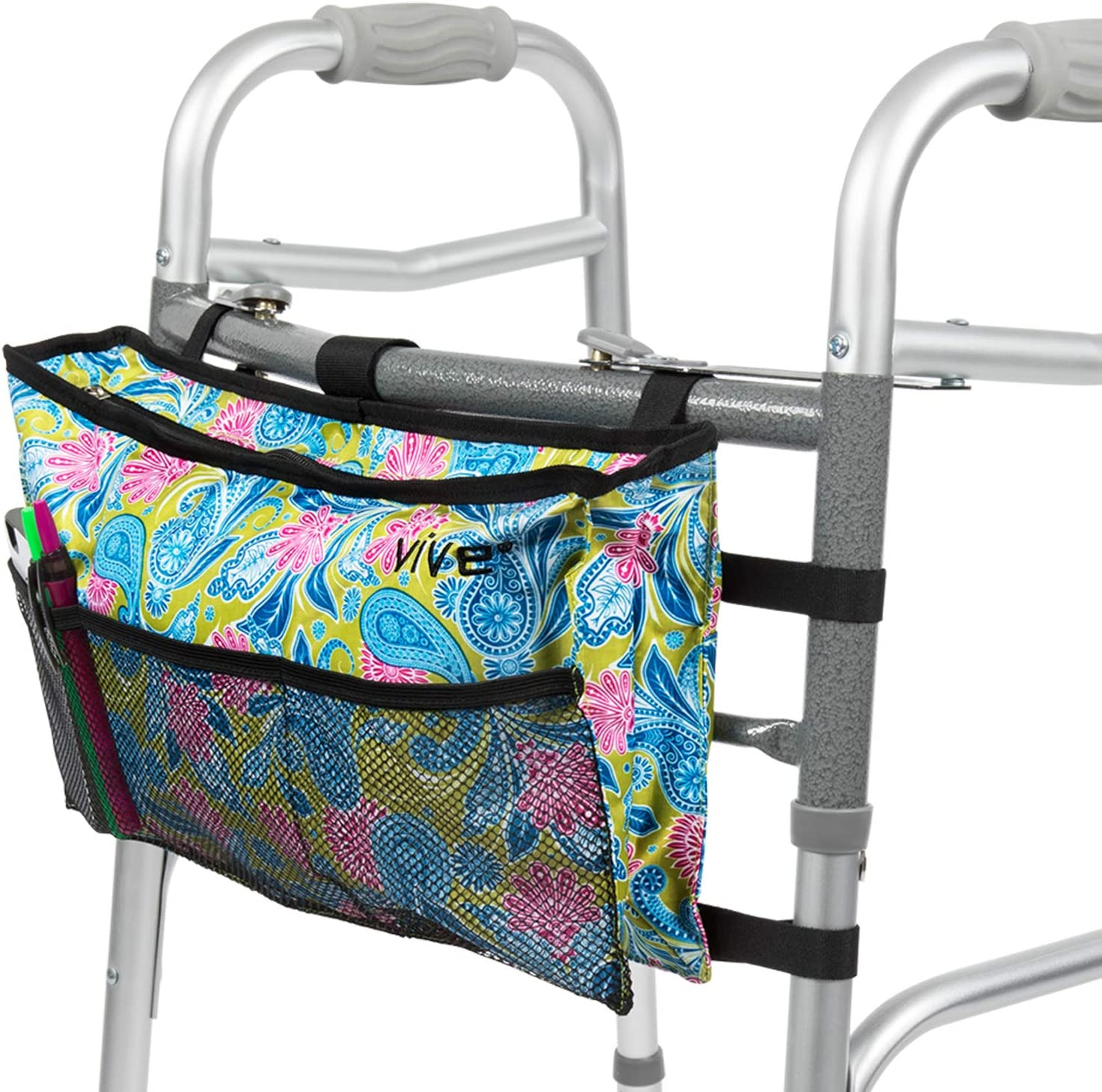 Vive Walker Bag - Water Resistant Accessory Basket Provides Hands Free Storage for Folding Walkers - Attachment Fits Wide and Narrow Styles - Tote Caddy Pouch for Elderly, Seniors, Handicap, Disabled: Health & Personal Care