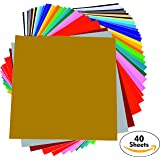 "Permanent Adhesive Backed Vinyl Sheets - PrimeCuts - 40 SHEETS 12"" x 12"" - 40 Assorted Color Sheets for Cricut, Silhouette Cameo, and Other Craft Cutters"