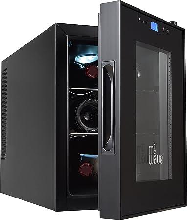 MyWave MWWT 6B- Vinoteca Para 6 Botellas Vertical, Capacidad De 20 Litros, Enfriamiento Termoeléctrico- Color negro