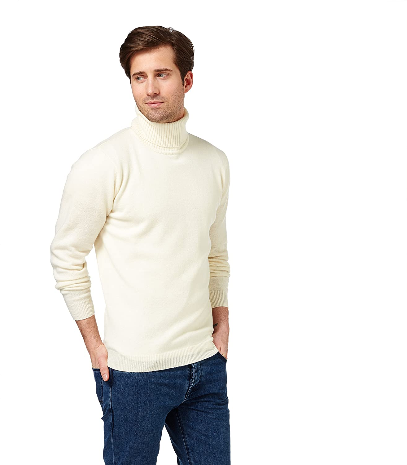 Wool Overs Men's Lambswool Polo Neck Jumper