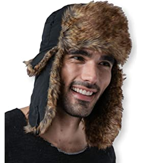 accde02595d908 Trapper Hat with Faux Fur & Ear Flaps - Ushanka Aviator Russian Hat for  Serious Expeditions