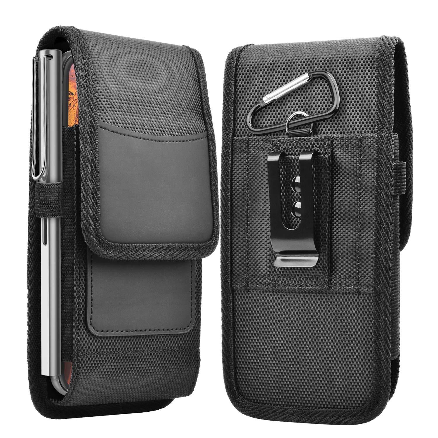 Takfox Phone Holster for Samsung Galaxy S20 Ultra S20 Plus S21 S10+ S9 S8 J7 J3, A01 A11 A21 A51 A71 A10e A20 A30 A50, K51 Stylo 6 Nylon Cell Phone Belt Clip Holster Carrying Pouch w Card Holder,Black