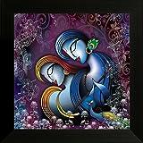 SAF ' Radha Krishna ' Religious Modern Art UV Textured Framed Painting (34 cm x 2 cm x 34 cm)