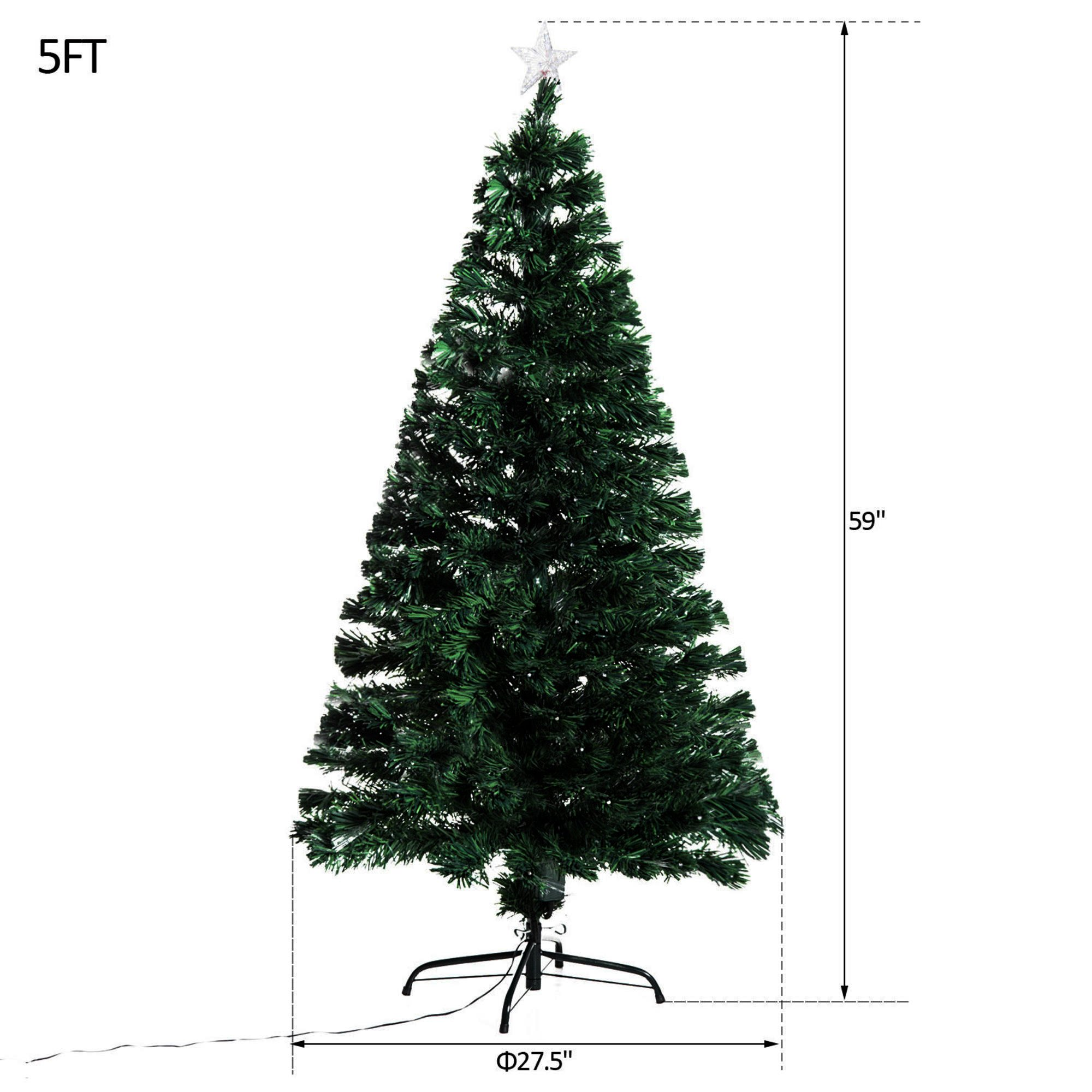 Artificial Christmas Tree. This Fake 5 Foot Xmas Fiber Optic Pine Densely, Lush, Easy-to-shape Green Branches Looks Natural. Great For Indoor, Holiday Season Party Decor & Festive Mood.