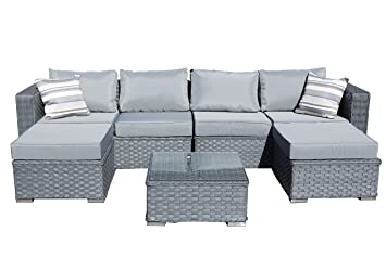 YAKOE Papaver 6 Seater Garden Furniture Patio Conservatory Rattan Corner  Sofa Set With Coffee Table