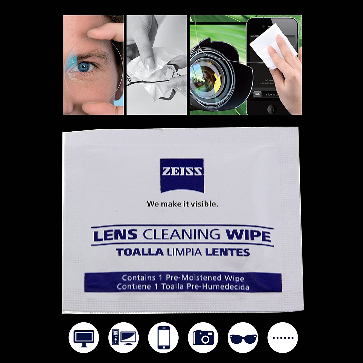 Amazon.com: Zeiss Lens Cleaning Wipe Anti-fog Anti-static Eyeglasses Wiping Paper (2 count): Health & Personal Care