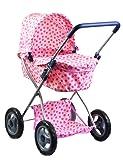 4 Wheels Dolls Pram Spotty Stroller Navy Pushchair Buggy with Storage Basket (Pink)