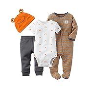 Carter's Baby Boys' 4-Piece Take Me Home Set (6 Months, Orange Crab)