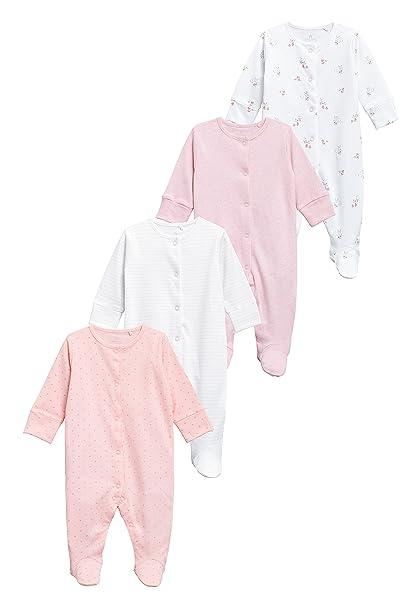 next Bebé-Niñas Pack De Cuatro Pijamas Tipo Pelele (0 Meses - 2 Años