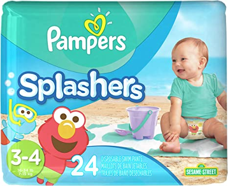 Size 3-4 Pampers Splashers Diaper Sesame Street 24 ct