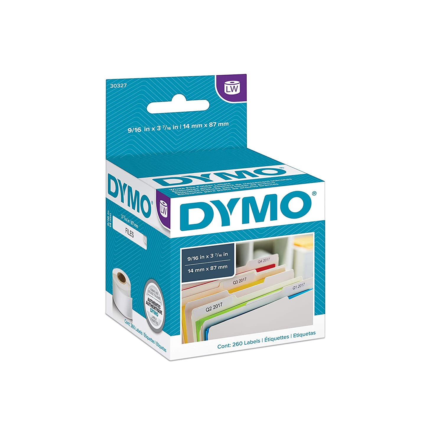 B00002QUKY DYMO LW 1-Up File Folder Labels for LabelWriter Label Printers, White, 9/16'' x 3-7/16'', 2 Rolls of 130 (30327) 81Z7qjmSLZL