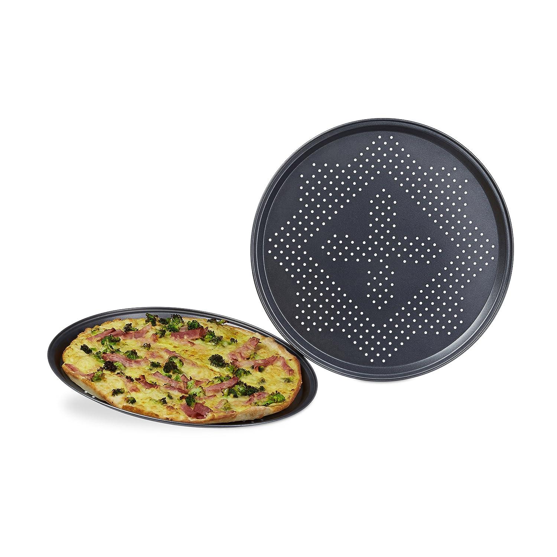 Relaxdays Conjunto de Bandejas para Pizzas, Hierro Fundido, Antracita, 32x32x1.3 cm, 2 Unidades: Amazon.es: Hogar