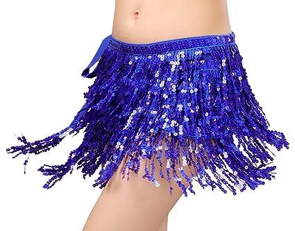 BellyQueen Mujer Danza del Vientre Cadera Toalla borlas Cintura Belly Dance Cintura Cadena Danza Toalla Monedas