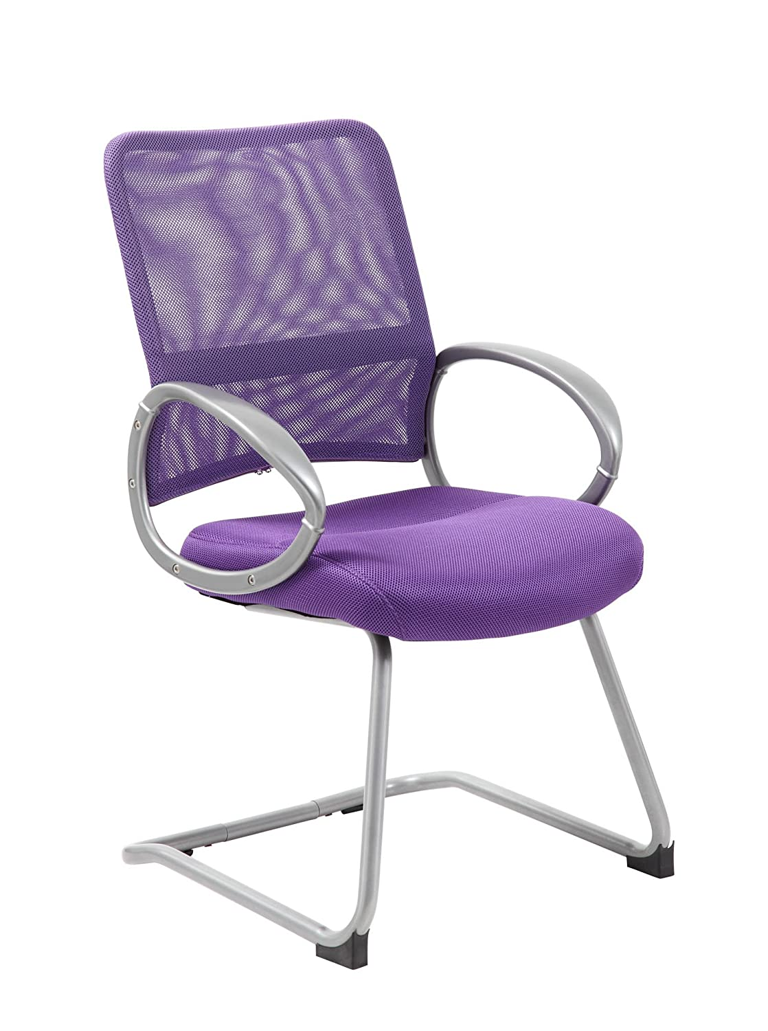Boss Office Products B6419-PR Mesh Back Guest Chair with Pewter Finish in Purple