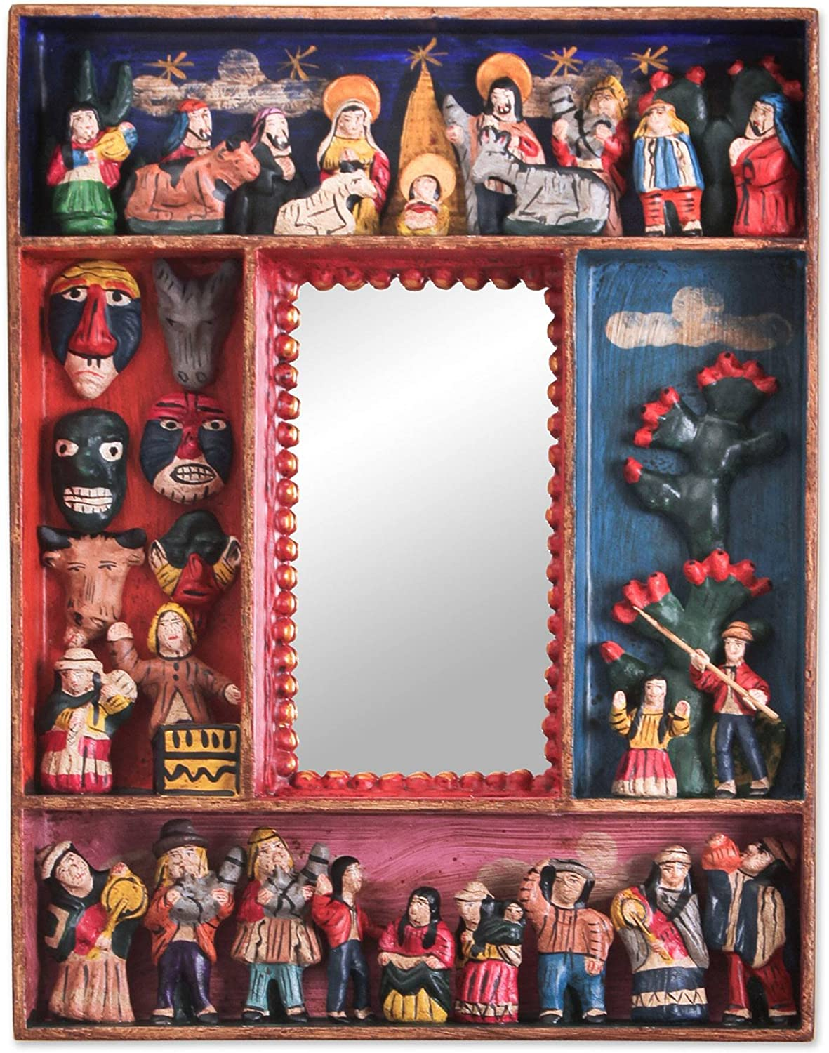 NOVICA Religious Wood and Ceramic Wall Little Carnaval' Mirror