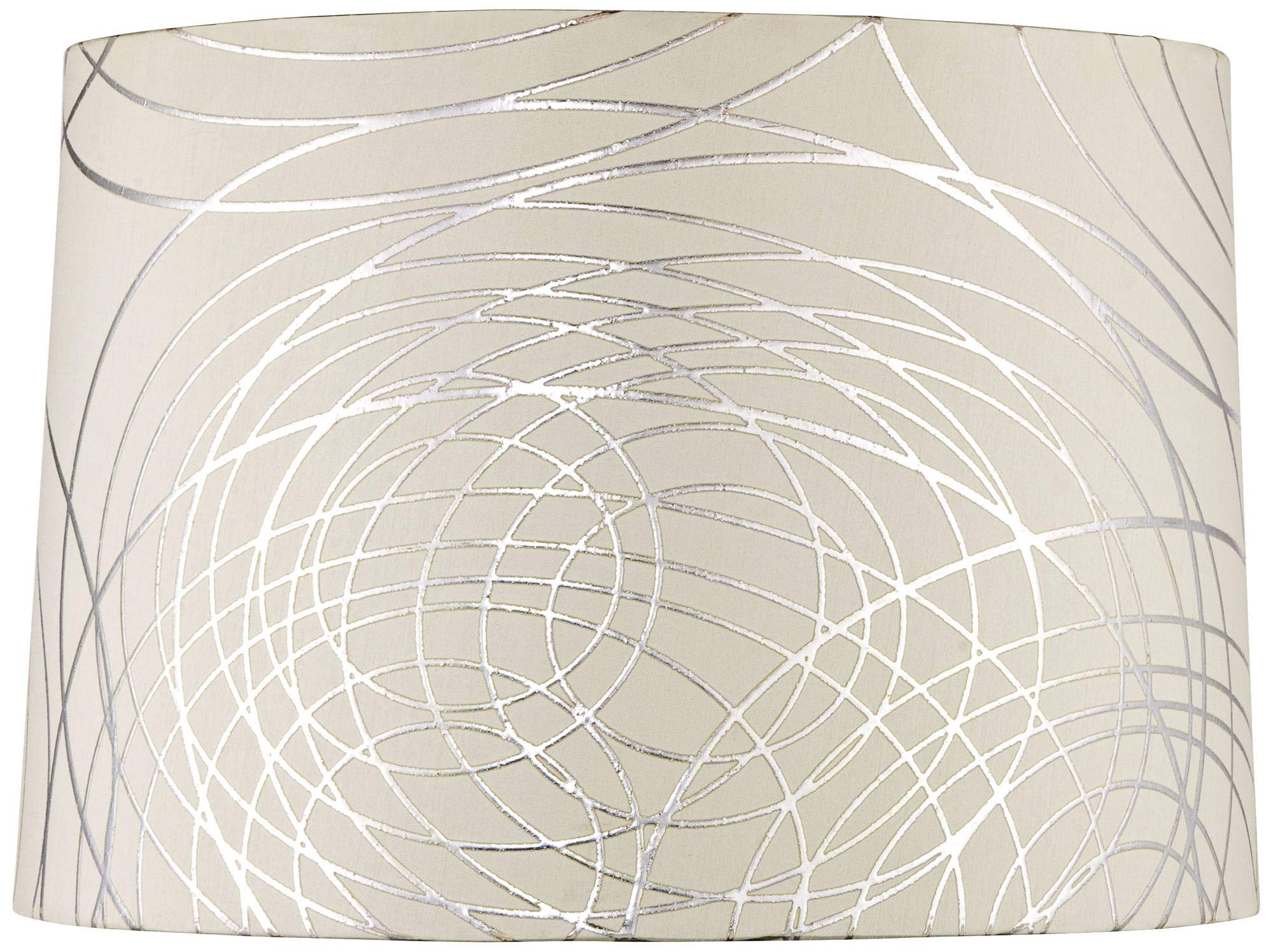 Off White Drum Lamp Shade Modern Silver Circles 15x16x11 (Spider) - Springcrest by Springcrest