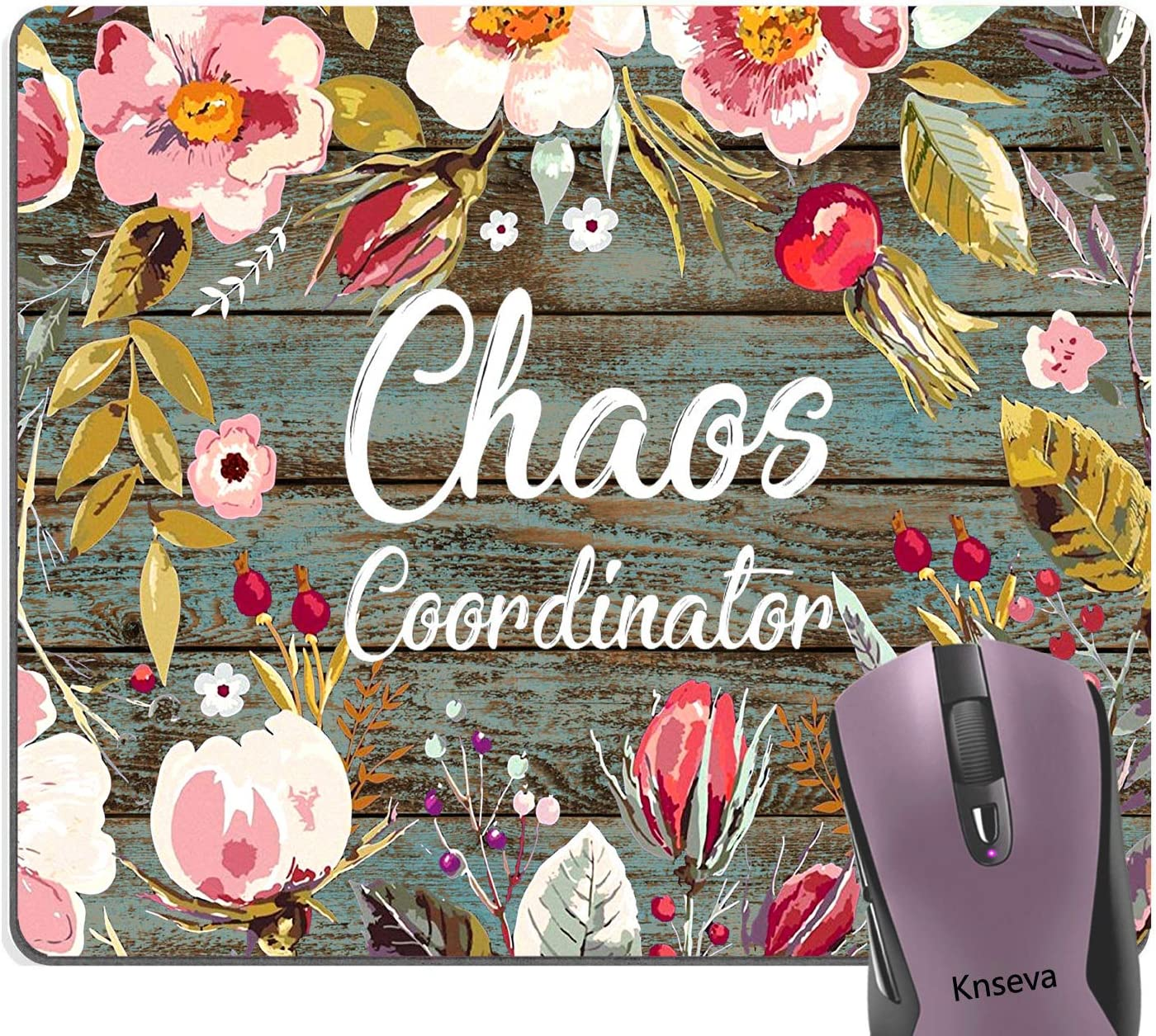 Knseva Chaos Coordinator Funny Quote Mouse Pad Custom, Quotes Vintage Colored Floral Wreath Print Rustic Old Wood Art Inspirational Mouse Pads