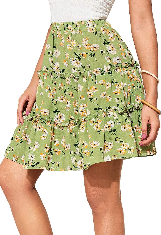 MILUMIA 여성 BOHO 꽃 인쇄 높은 허리 휴가 플레어 레이어 미니 스커트