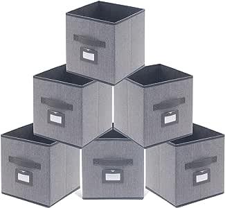 homyfort Juego de 6 Caja de Almacenaje, Cajas de Juguetes, Caja de Tela para Almacenaje Cubos Plegable, con Etiqueta y Manijas, 30 x 30 x 30 cm, Gris Lino, XDB06PL: Amazon.es: Hogar