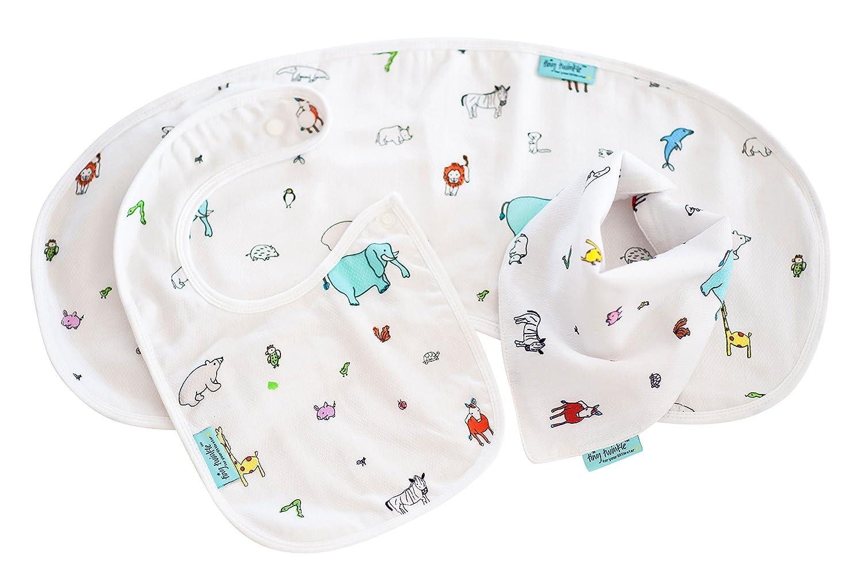 Soft, Absorbent, Waterproof Baby Gift Set: 1 Drool Bib, 1 Feeding Bib, 1 Burp Cloth 1 Burp Cloth (Bird)