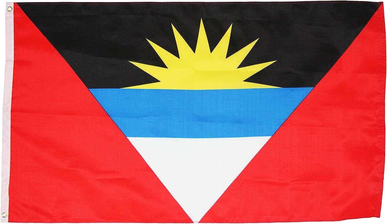 Antigua y Barbuda Nacional Bandera de país – 3 pies por 5 pies de poliéster (nuevo): Amazon.es: Jardín