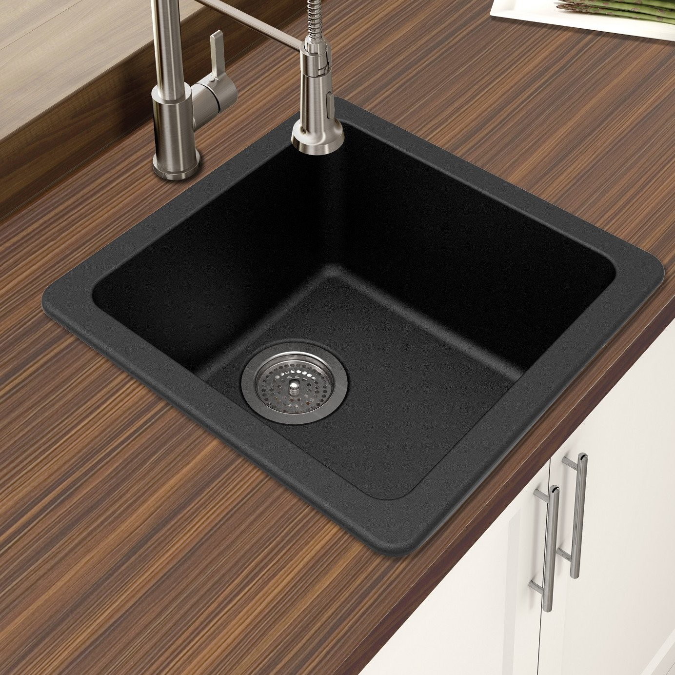 Winpro New Black Granite Quartz 16 5 8 x 16 5 8 x 8 Single Bowl Dual Mount Bar Sink