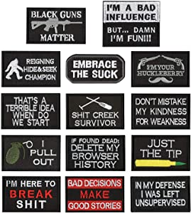 WZT 14 Pieces Funny Tactical Morale Military Patch Full Embroidery Patch Set for Caps,Bags,Backpacks,Clothes,Vest,Military Uniforms,Tactical Gears Etc.