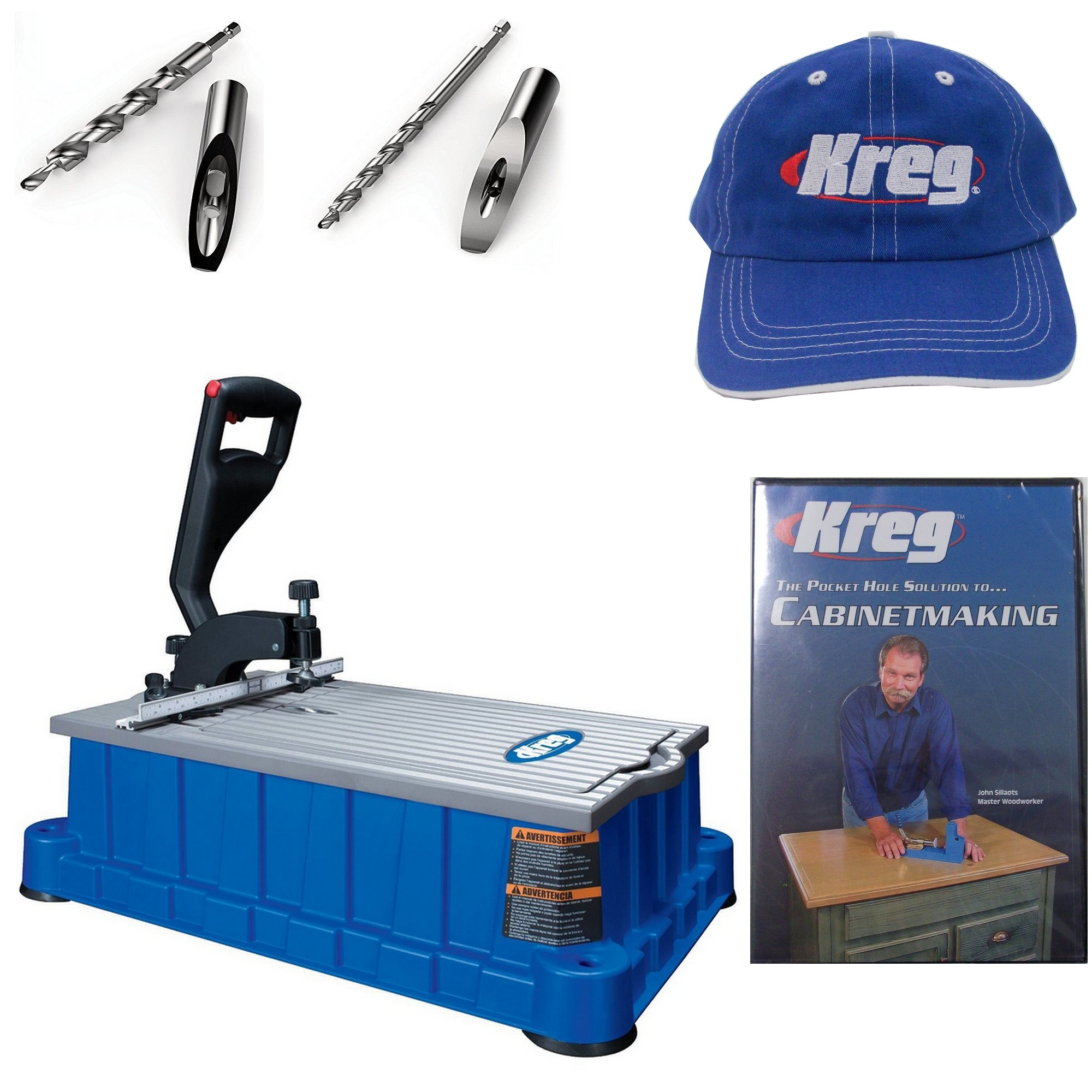 Kreg DB210 Foreman 110-Volt Pocket-Hole Machine, HD Drill Bit, Micro Drill Bit, Kreg Cap , and Cabinetmaking DVD