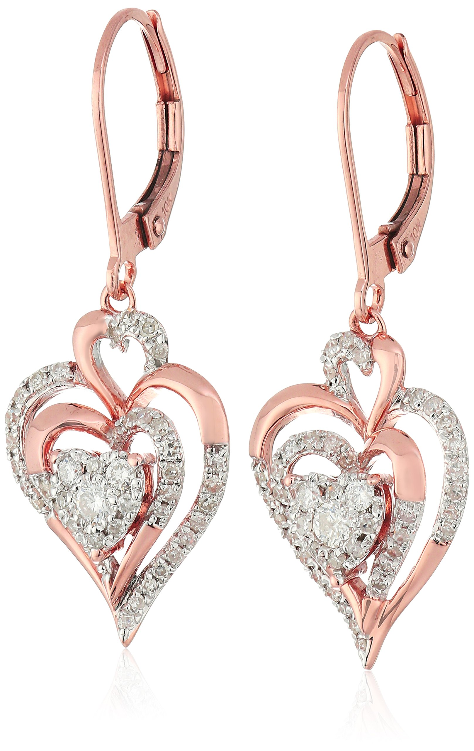 10K Rose Gold Cluster Heart Diamond Earrings (1/2cttw, I-J Color, I2-I3 Clarity)