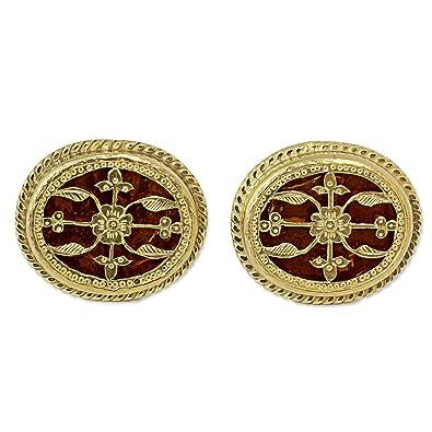 Novica Gold plated cufflinks, Golden Glory