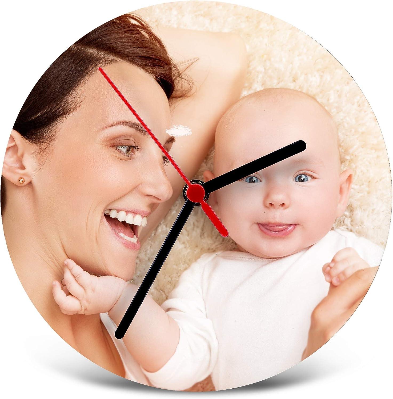 LolaPix Marco de Fotos Reloj de Madera Personalizado. Regalos Dia de la Madre Personalizados. Varios Modelos. Calidad Cromaluxe. Redondo 20cm