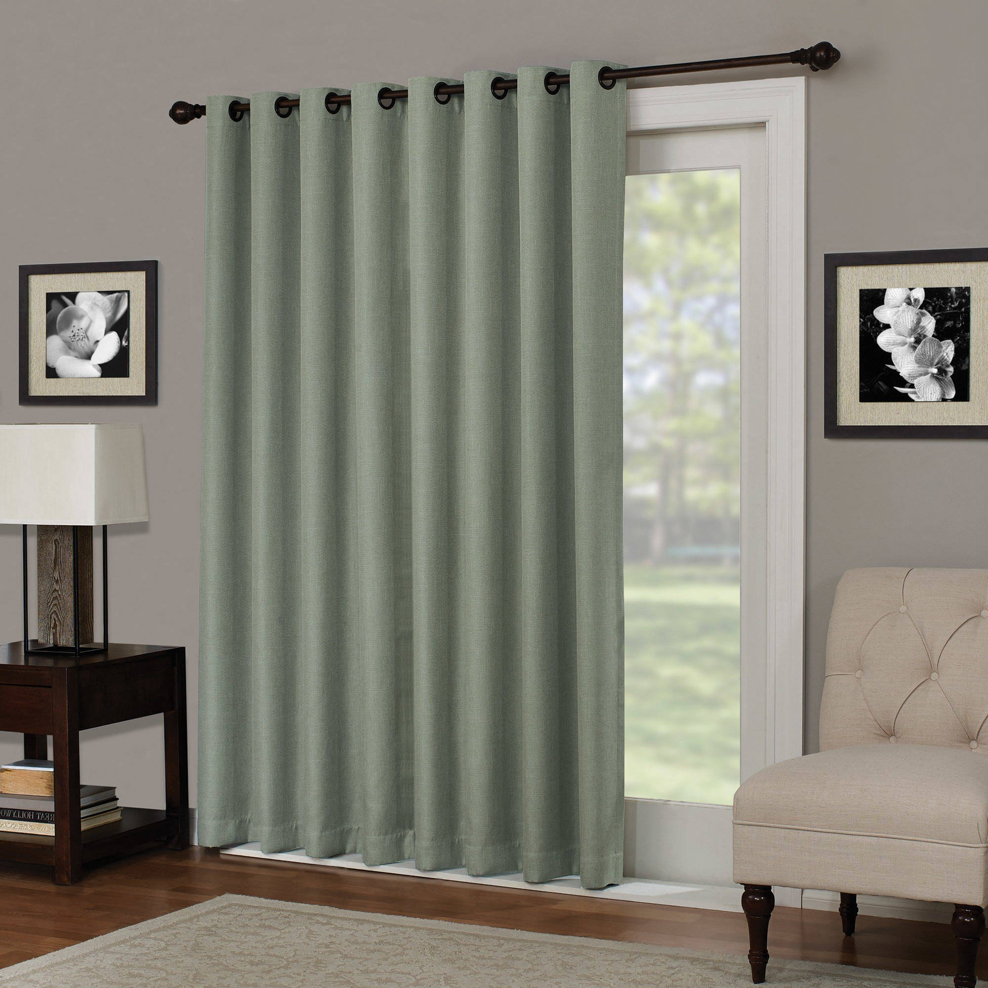 1 Piece 84 Inch Sage Solid Color Blackout Sliding Door Curtain, Green Sliding Patio Door Panel Window Treatment Single Panel, Modern Contemporary Curtains For Glass Door, Rod Pocket Polyester