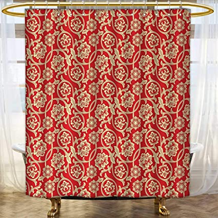 Red Print Shower Curtain Chinese Blossoms With Tangled Curly Leaves Antique And Artistic Design Of Asian