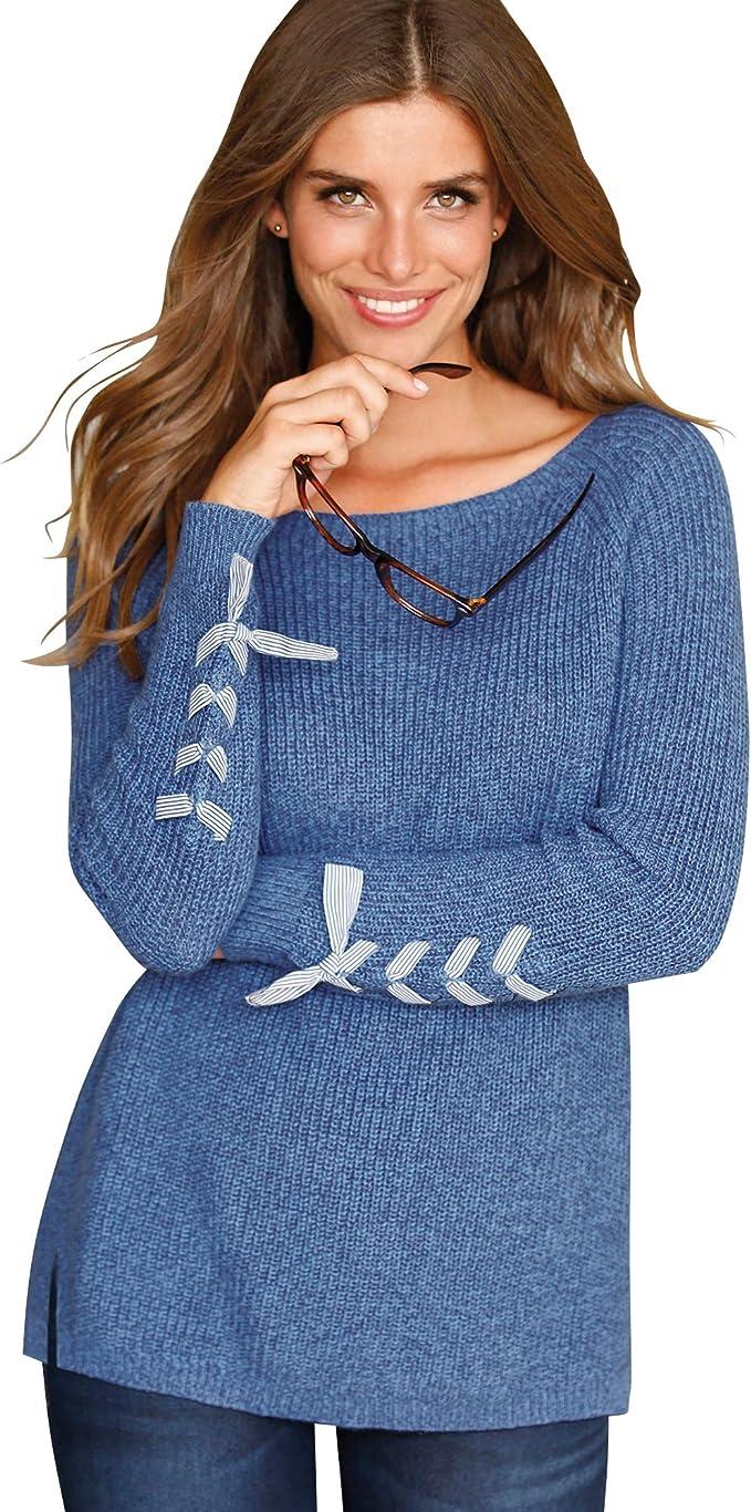 Jersey con Tiras Cruzadas en Las Mangas Mujer by Vencastyle - 024374,Azul VIGORÉ,S