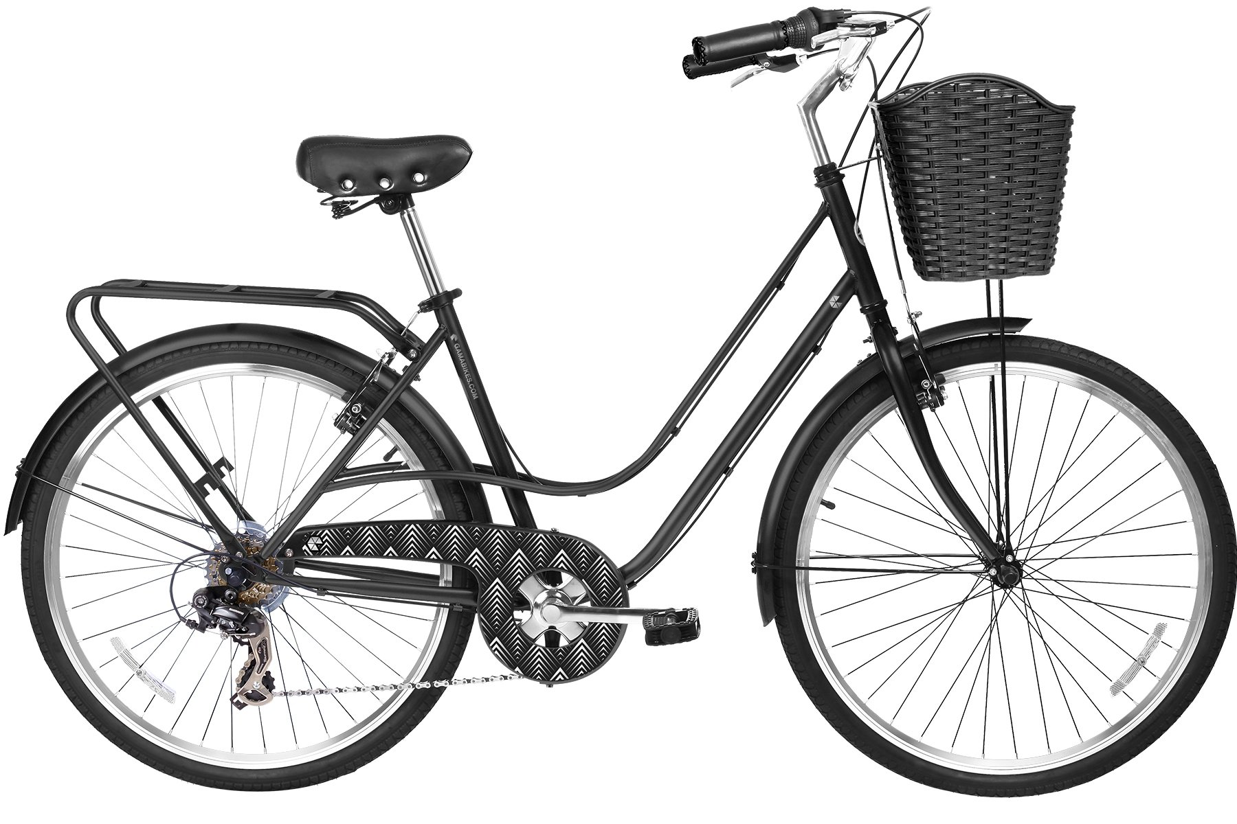 Gama Bikes City Avenue 26 – Women's Cruiser Bike - Step-Through Comfort Frame, 6 Speed Shimano -  Hybrid Urban Commuter Road Bicycle - Great for Beach Cruising, Exercising and All Around Fun – Black
