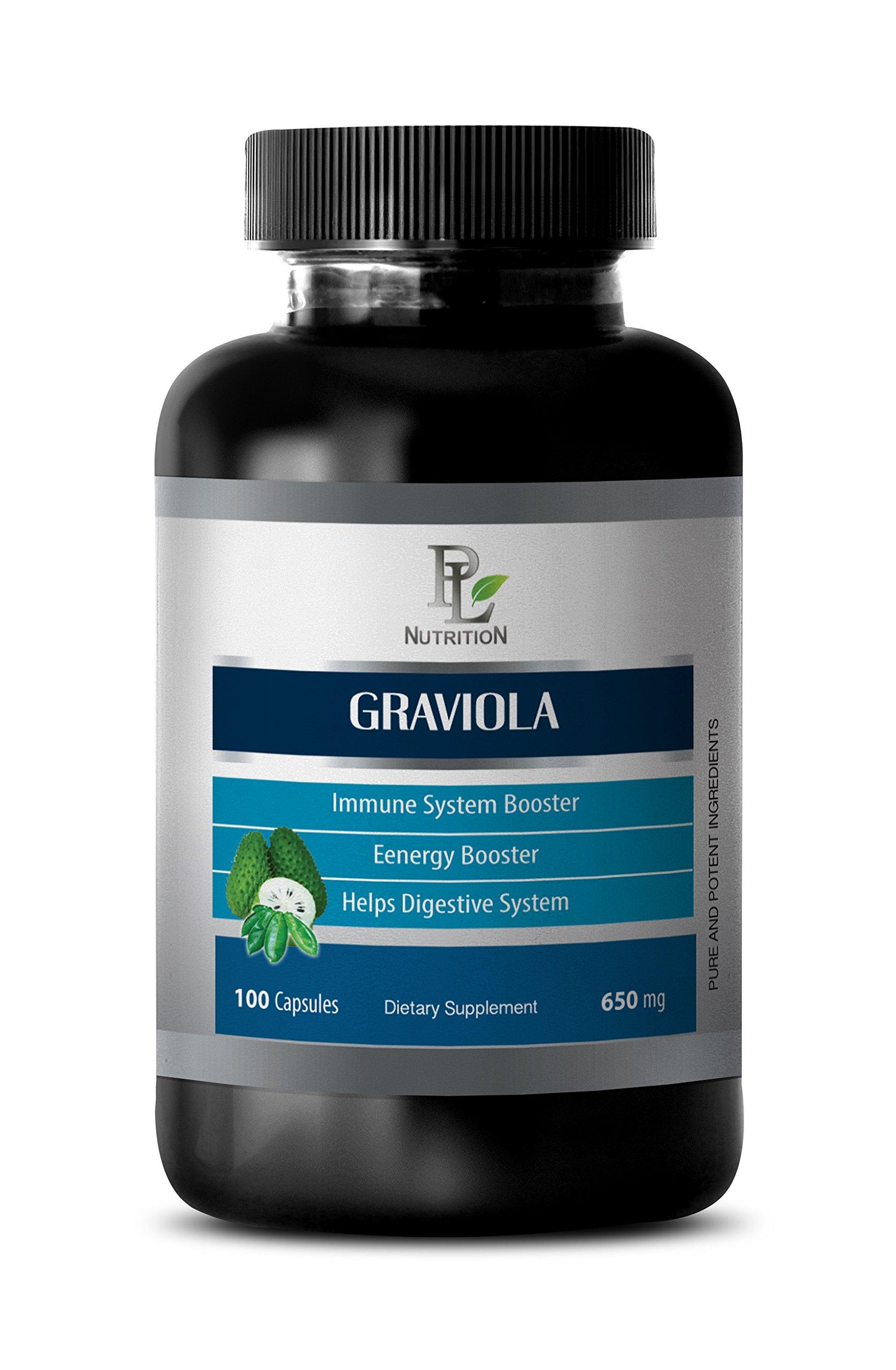 Graviola pure - GRAVIOLA EXTRACT 650 Mg - Antioxidant - 1 Bottle 100 Capsules