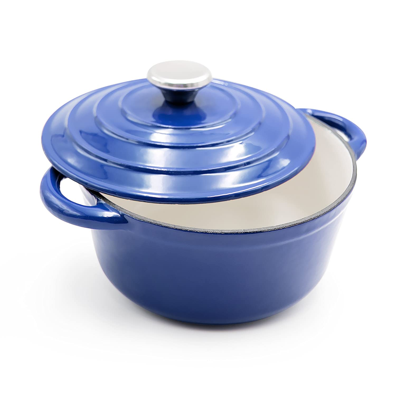 AIDEA Enameled Cast Iron Dutch Oven - 5-Quart Cobalt Blue Round Ceramic Coated Cookware French Oven with Self Basting Lid