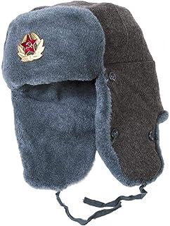 Hat Russian Soviet Army Black KGB Fur Military Cossack Ushanka Size ... 075d3f1377f8