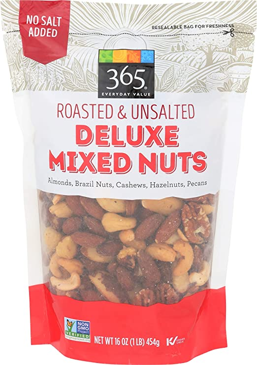 Amazon.com : 365 Everyday Value, Deluxe Mixed Nuts, Roasted & Unsalted, 16 oz