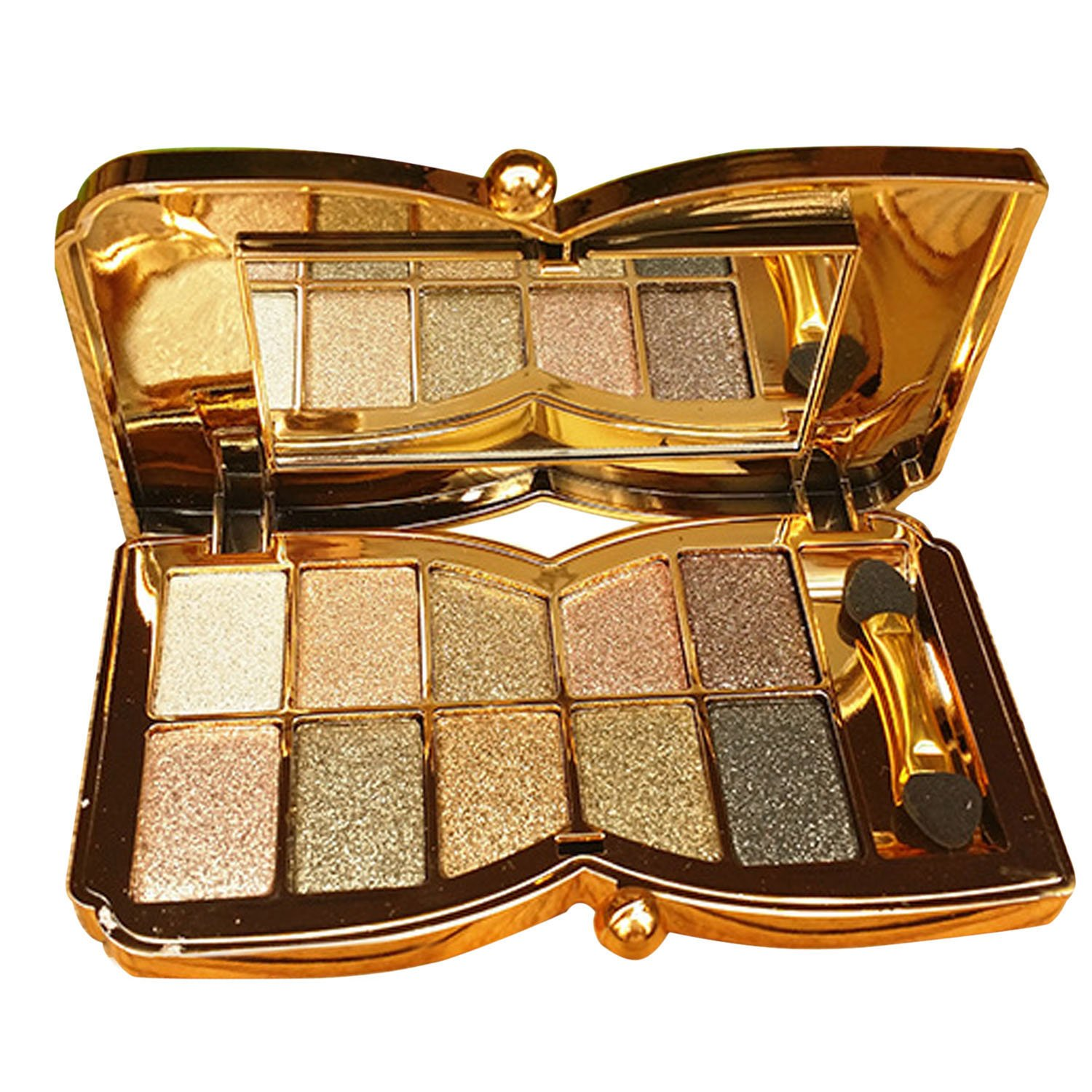 10 Colors Diamond Shining Eyeshadow Palette Makeup Cosmetic Foundation Eye shadow Palette with Double-sided Makeup Stick Tool Set Number 6 Elisona