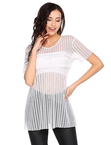 Dealwell Women s Clubwear Sexy Mesh Top Short Sleeve Sheer See Through  T-Shirt Blouse ( 6e5a8a63c