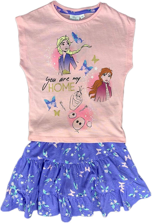 Disney Maglietta con Gonna Frozen II T-Shirt in Cotone Vestitino Stampato 1827