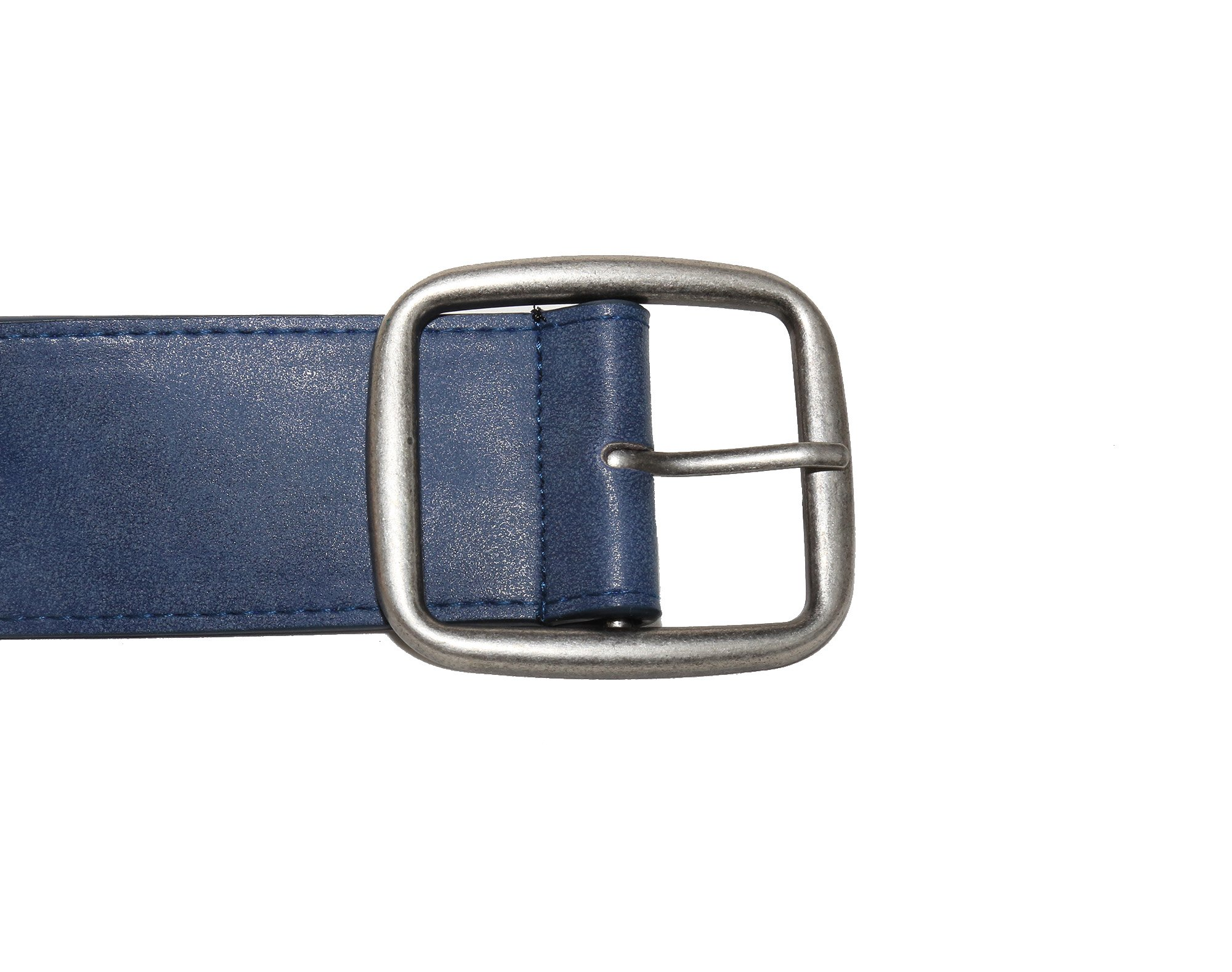 Modeway Women 2'' Wide Suede Leather Silver Square Buckle Adjustable Waist Belts (S-M, Navy-4#) by Modeway (Image #3)