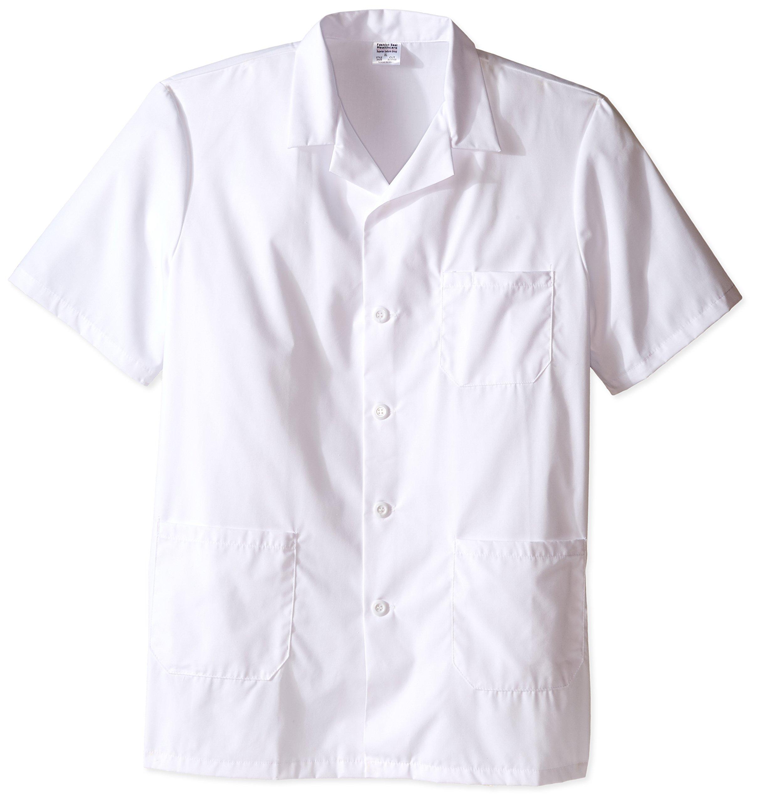 Worklon 3409 Polyester/Cotton Unisex Short Sleeve Pharmacy Lab Coat with Button Closure, X-Large, White