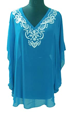 92962486bf Image Unavailable. Image not available for. Color: Sunrose Sky Blue Plus  size Embroidery Kaftan Caftan Beach Cover ...